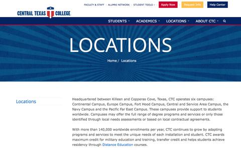 Screenshot of Locations Page ctcd.edu - Locations - Central Texas College - captured Oct. 30, 2016