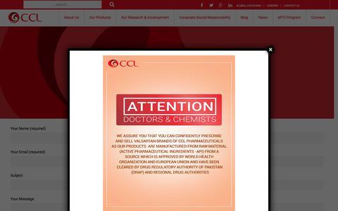 Screenshot of Contact Page cclpharma.com - Contact Us - CCL Pharmaceuticals - captured Sept. 25, 2018
