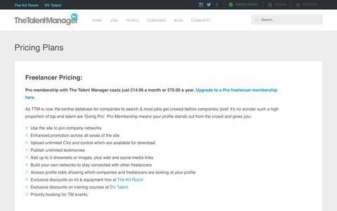 Screenshot of Pricing Page thetalentmanager.com - Pricing   The Talent Manager - captured Oct. 19, 2018