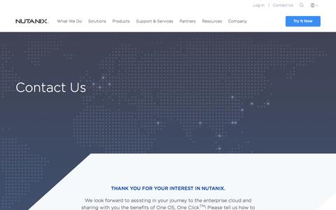 Screenshot of Contact Page nutanix.com - Contact us to get started with Nutanix Enterprise Cloud - captured May 10, 2018