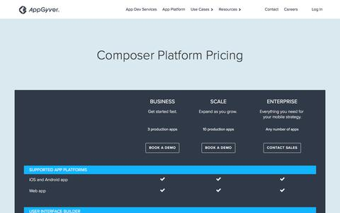 Screenshot of Pricing Page appgyver.com - AppGyver Composer Pricing - captured Aug. 25, 2018
