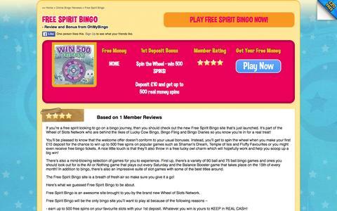 Screenshot of ohmybingo.com - Free Spirit Bingo | Free Spins on Popular Slots | Spin The Wheel - captured March 19, 2016