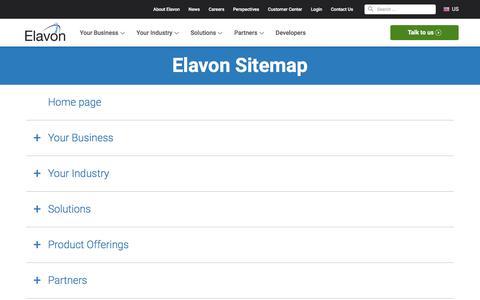 Screenshot of Site Map Page elavon.com - Elavon Sitemap - captured Sept. 19, 2019