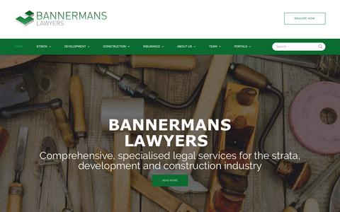 Screenshot of Home Page bannermans.com.au - Bannermans Lawyers  - Home - captured Oct. 5, 2018
