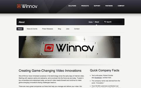 Screenshot of About Page winnov.com - About - Winnov - captured Oct. 26, 2014