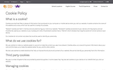 Cookie Policy - EC English Language Centres