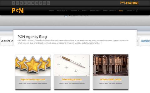 Screenshot of Blog pgnagency.com - PGN Agency Blog - captured Sept. 24, 2014