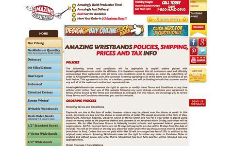 Screenshot of Terms Page amazingwristbands.com - Policies, Terms & Conditions - Amazing Wristbands - captured Aug. 6, 2016
