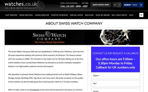 Screenshot of About Page watches.co.uk - About the Swiss Watch Company   Watches.co.uk - captured June 30, 2017