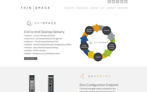 Screenshot of Products Page thinspace.com - Thinspace     Application Delivery, Desktop Virtualization, and Cloud Client Technology   Products - captured Sept. 30, 2015