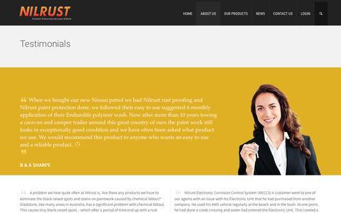 Screenshot of Testimonials Page nilrust.com.au - Testimonials | Nilrust - captured Feb. 22, 2016