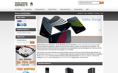 Screenshot of Home Page diskdrivedirect.com - Top Brand Storage Devices | Controllers | Optical Drives | Storage Media - captured Sept. 30, 2014