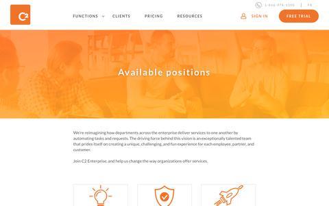 Screenshot of Jobs Page c2enterprise.com - Join our team | C2 Enterprise - captured Sept. 25, 2018