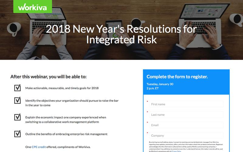 2018 New Year's Resolutions for Integrated Risk  | Workiva