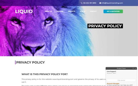 Screenshot of Privacy Page liquid-branding.com - LIQUID BRANDING - Branding and Marketing Communications Agency in Bangkok, Thailand - captured Sept. 29, 2018