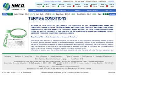 Screenshot of Terms Page shcilservices.com - SHCIL Services Ltd - captured Nov. 18, 2016