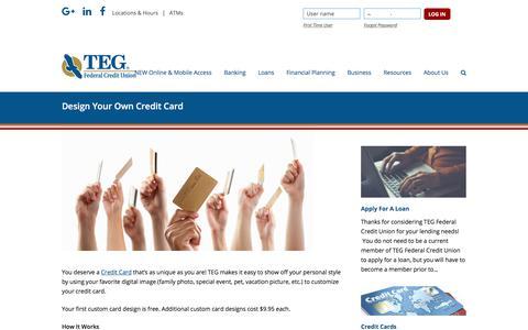 Screenshot of tegfcu.com - Design Your Own Credit Card – TEG Federal Credit Union - captured Dec. 2, 2017