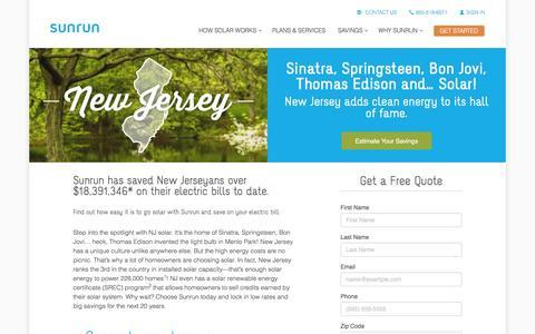 Screenshot of sunrun.com - New Jersey Solar Panels & Home Solar Companies   Sunrun - captured March 31, 2016