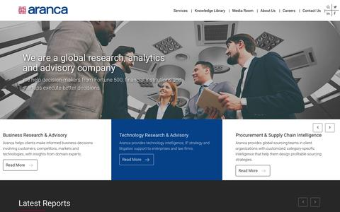 Screenshot of Home Page aranca.com - Global Research and Analytics Firm   Investment, Business, Intellectual Property Research and Business Valuation Services   Aranca - captured May 22, 2018