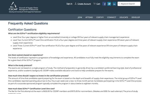 Screenshot of FAQ Page cscmp.org - Frequently Asked Questions - captured Dec. 29, 2016