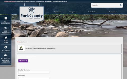 Screenshot of Login Page yorkcountygov.com - York, SC - captured Oct. 18, 2017
