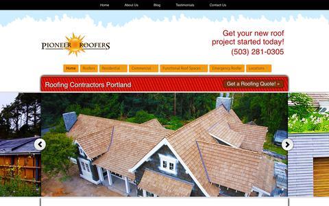 Screenshot of Home Page pioneerroofers.net - Roofing Contractors Portland | Pioneer Roofers - captured Jan. 28, 2016