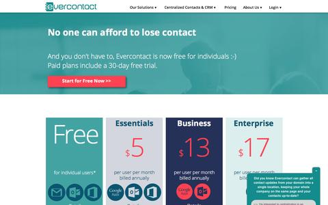 Screenshot of Pricing Page evercontact.com - Evercontact solutions and pricing - captured Aug. 27, 2016