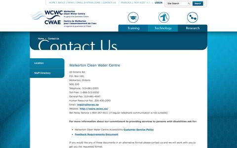 Screenshot of Contact Page wcwc.ca - Walkerton Clean Water Centre   Contact Us Today - captured Dec. 3, 2016