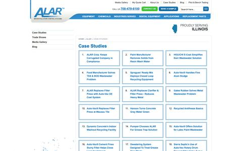 Screenshot of Case Studies Page alarcorp.com - Case Studies | ALAR Corp - captured Oct. 2, 2018