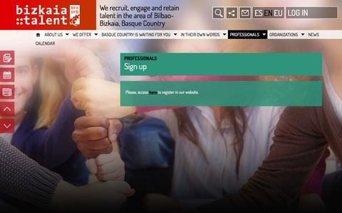 Screenshot of Signup Page bizkaiatalent.org - Sign up   Bizkaiatalent - captured Oct. 5, 2014