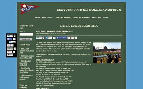 Screenshot of Blog bigleaguetours.com - Blog | Baseball Trips & Tours | Big League Tours - captured Oct. 29, 2014