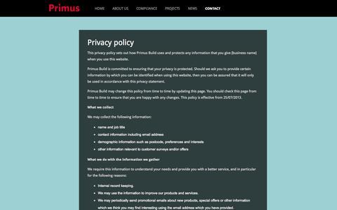 Screenshot of Privacy Page primusbuild.com - Privacy | Primus Build - captured Oct. 3, 2014