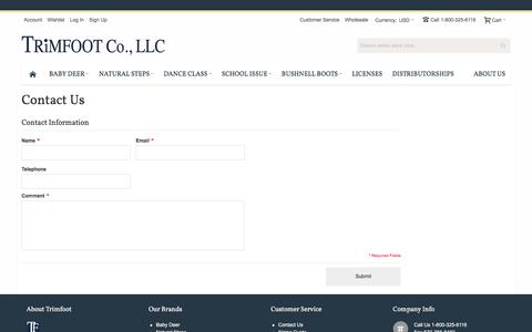 Screenshot of Contact Page Support Page trimfootco.com - Contact Us - captured Feb. 25, 2016
