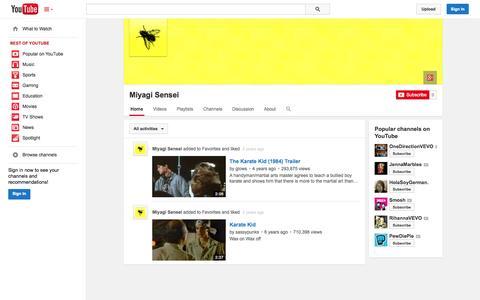 Screenshot of YouTube Page youtube.com - Miyagi Sensei  - YouTube - captured Oct. 26, 2014
