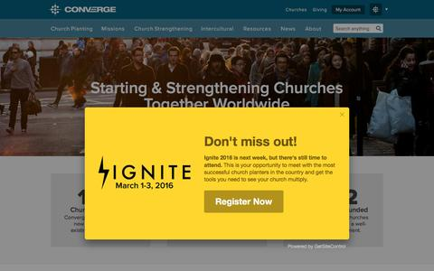 Screenshot of Home Page converge.org - Converge | Starting & Strengthening Churches Together Worldwide - captured Feb. 24, 2016