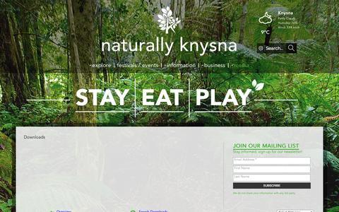 Screenshot of Press Page visitknysna.co.za - Downloads - captured Sept. 19, 2014