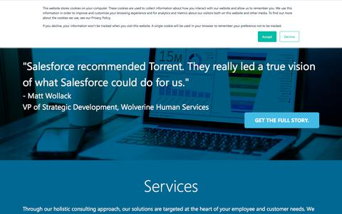 Screenshot of Services Page torrentconsulting.com - Our Work - Torrent Consulting - captured Sept. 21, 2018