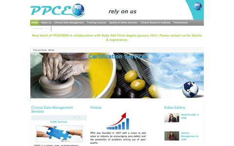 Screenshot of Home Page ppceworld.com - Welcome to the arena of clinical research allied services and certification services. - captured Oct. 1, 2014
