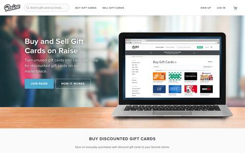 Screenshot of Home Page raise.com - Raise: Buy and Sell Gift Cards - Exchange Gift Cards - captured Sept. 17, 2014