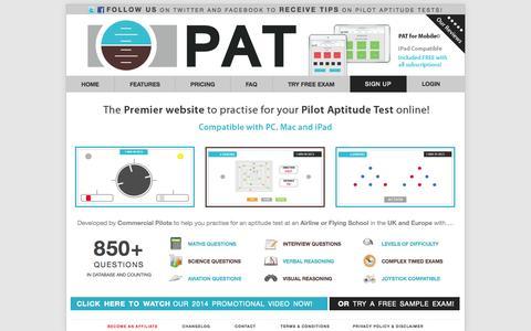Screenshot of Home Page pilotaptitudetest.com - PAT | PilotAptitudeTest.com - Practise for Pilot Aptitude & COMPASS Tests! - captured Oct. 2, 2014