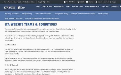 Screenshot of Terms Page lta.org.uk - LTA Website Terms & Conditions | Tennis in Britain - captured July 2, 2017
