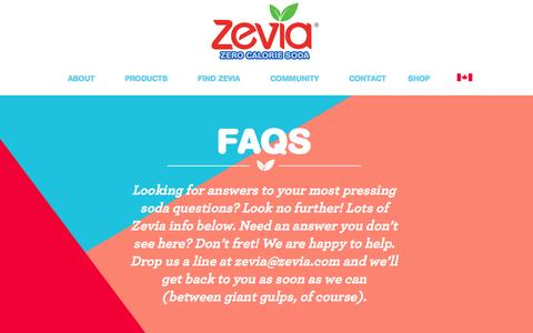 Screenshot of FAQ Page zevia.com - Facts About Zevia Soda - Non GMO Gluten Free Soda - No Caramel Color| Zevia Zero Calorie Soda - captured Dec. 5, 2015