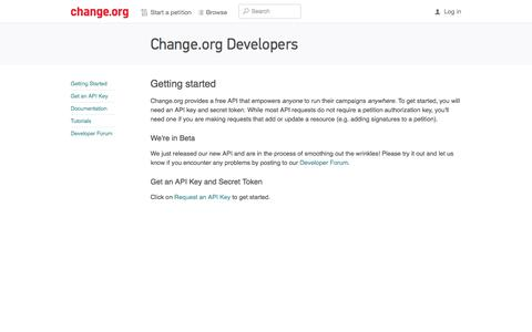 Screenshot of Developers Page change.org - Change.org - captured Oct. 28, 2014