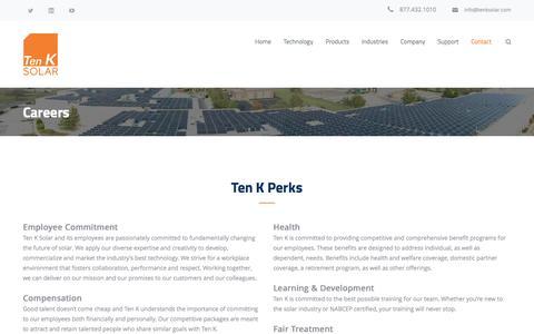 Screenshot of Jobs Page tenksolar.com - Careers – Ten K Solar - captured July 3, 2016