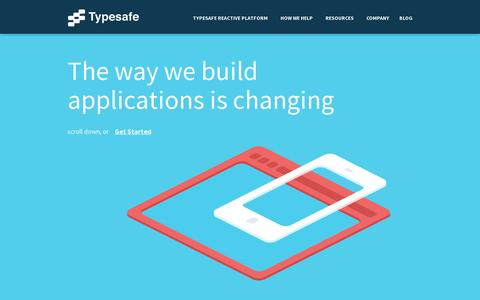 Screenshot of Home Page typesafe.com - Build Reactive Applications on the JVM  | Typesafe - captured July 17, 2014