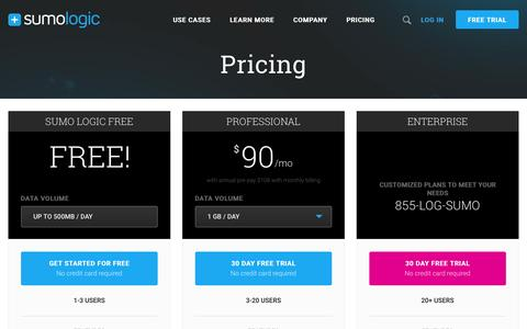 Screenshot of Pricing Page sumologic.com - Sumo Logic- Pricing Catered to Your Needs & Budget - captured Oct. 25, 2015