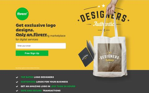 Screenshot of Landing Page fiverr.com - Fiverr - Professional Logo Designers starting at $5! - captured Oct. 23, 2016