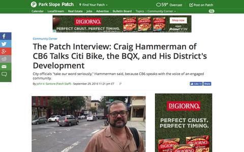 Screenshot of patch.com - The Patch Interview: Craig Hammerman of CB6 Talks Citi Bike, the BQX, and His District's Development - Park Slope, NY Patch - captured Sept. 30, 2016