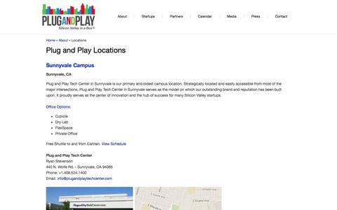 Screenshot of Locations Page plugandplaytechcenter.com - Plug and Play Locations | Plug and Play Tech Center - captured Nov. 3, 2014