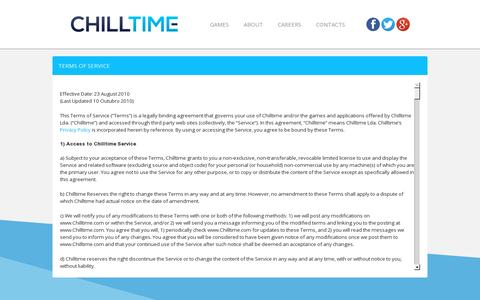 Screenshot of Terms Page chilltime.com - Chilltime Legal - captured July 18, 2014
